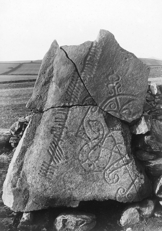 View of reassembled fragmentary symbol stone.