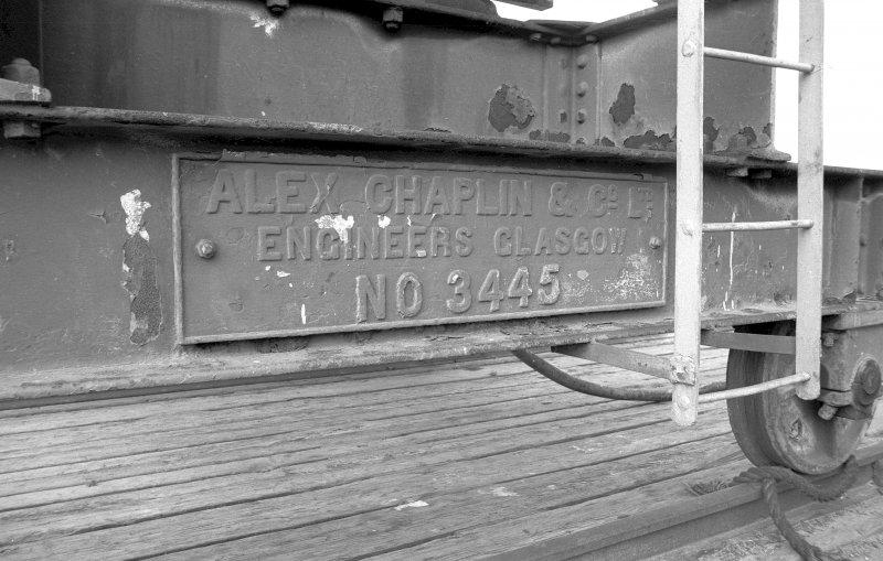 View showing detail of maker's plate on Chaplin electric crane