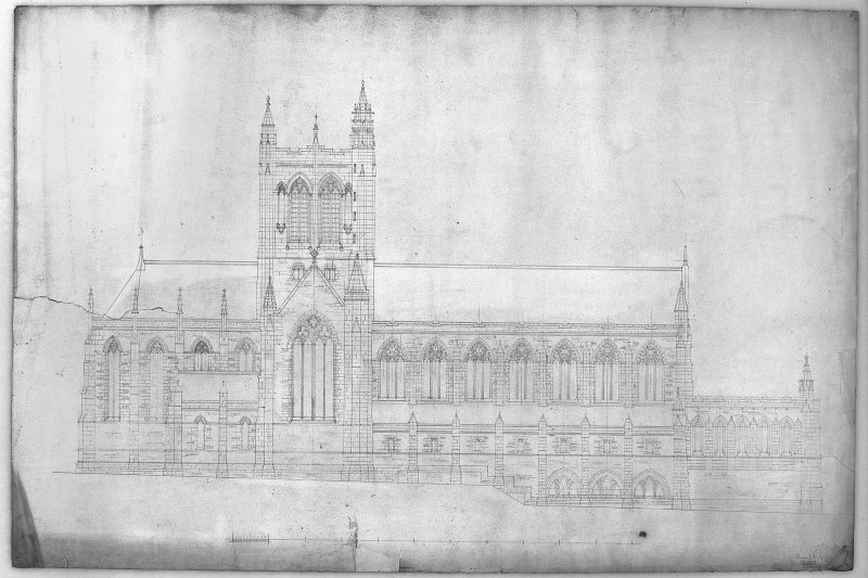 Photographic copy of drawing showing elevation of church Digital image of C 45175 p