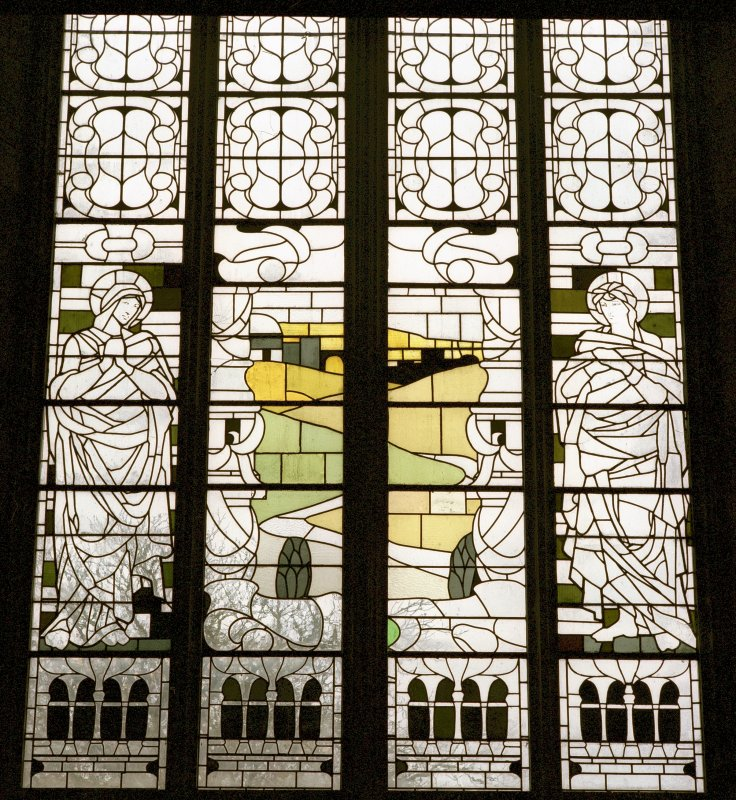 Interior -detail of lower half of stained glass window in N transept Digital image of C 17694 CN