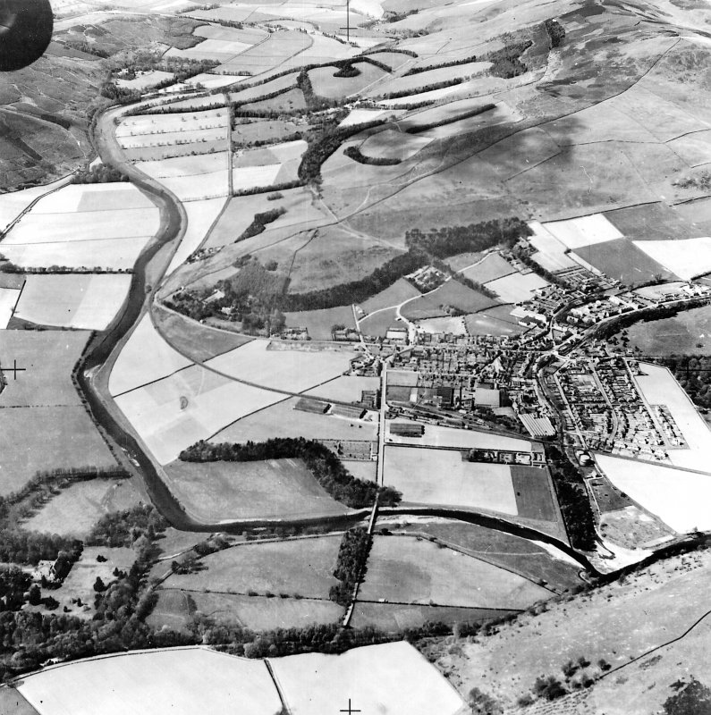 Digital image of a WWII oblique aerial photograph of Innerleithen.  View from SE taken from above Traquair House, over Innerleithen, to as far as Cardrona..