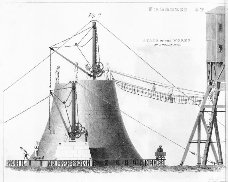 Engraving showing the construction of the Bell Rock Lighthouse. Titled: ''State of the works in August 1809'.