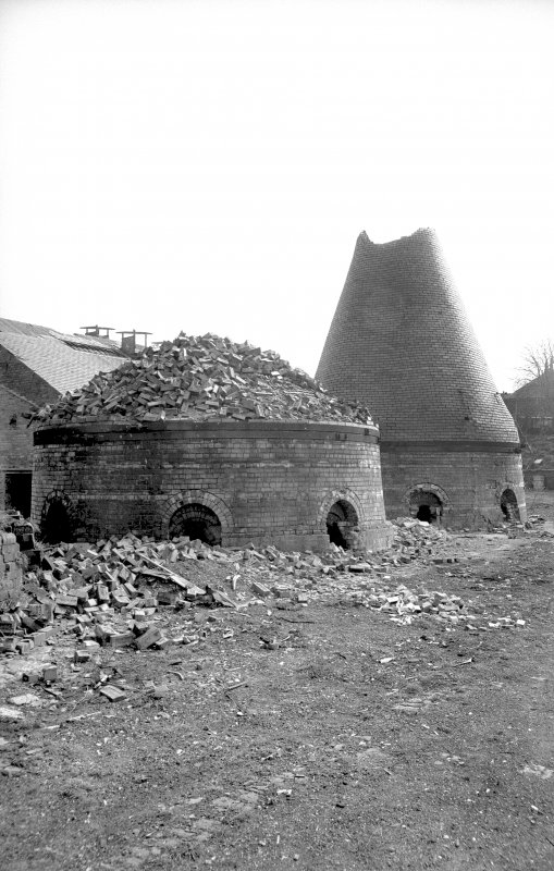 View from WNW showing partially demolished kilns at Buccleuch brickworks, Sanquhar, in 1971.