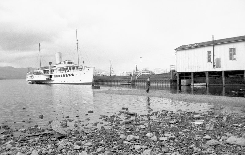 View from SSE showing Maid of the North docked at pier