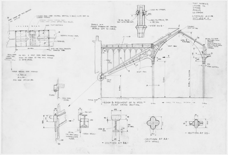 Photographic copy of plan and sections showing constructional detail of supports and roof of central section on the top floor of the North Mill. Digital image of B 20942 p