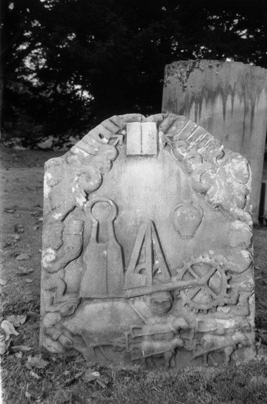 View of gravestone to a miller, 1729