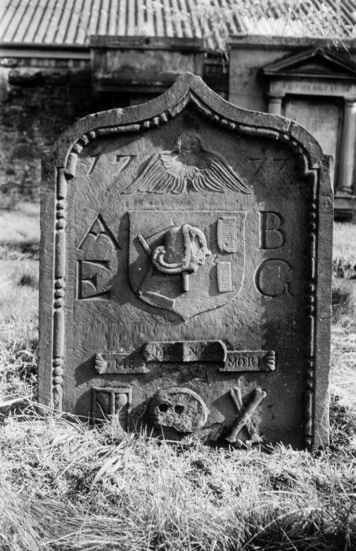 View of the gravestone of a barber, 1777.