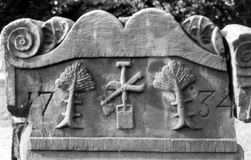 Detail of headstone 1734 to James Dundas, gardener, Abercorn churchyard.