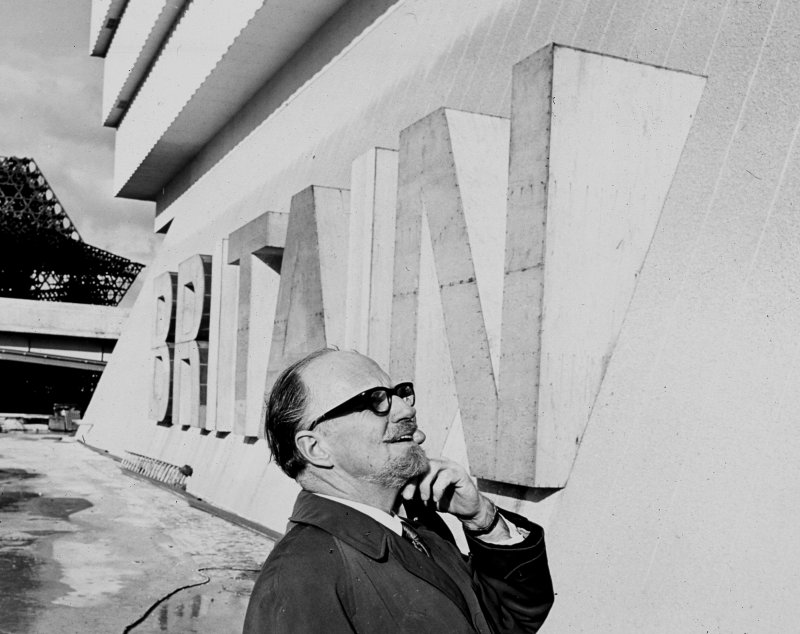 View of Sir Basil Spence outside the British Pavilion at Expo '67, Montreal, Canada.