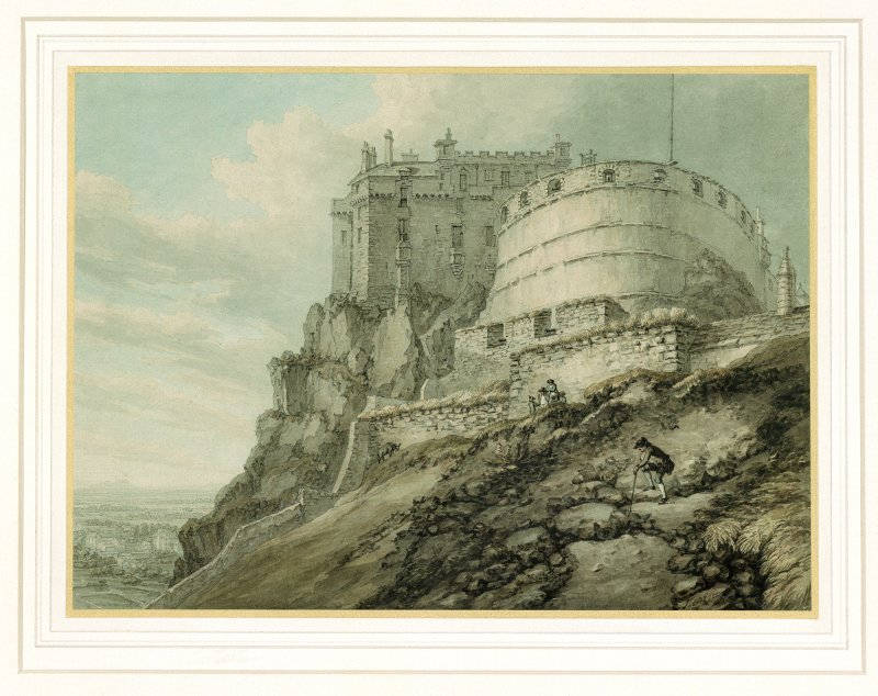 Engraving. General view of Edinburgh Castle.
