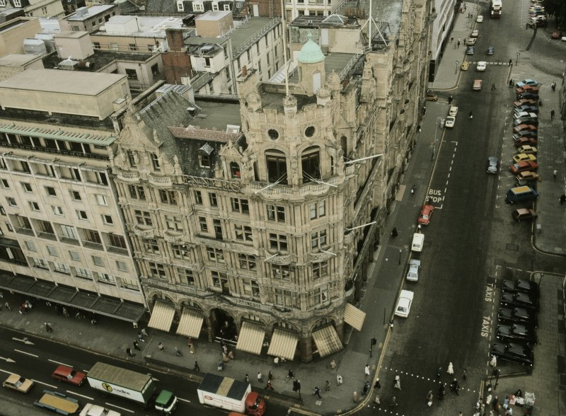Aerial view from Sir Walter Scott Monument from SE showing SSE and ENE fronts of Jenners' with part of SSE front of hotel to left