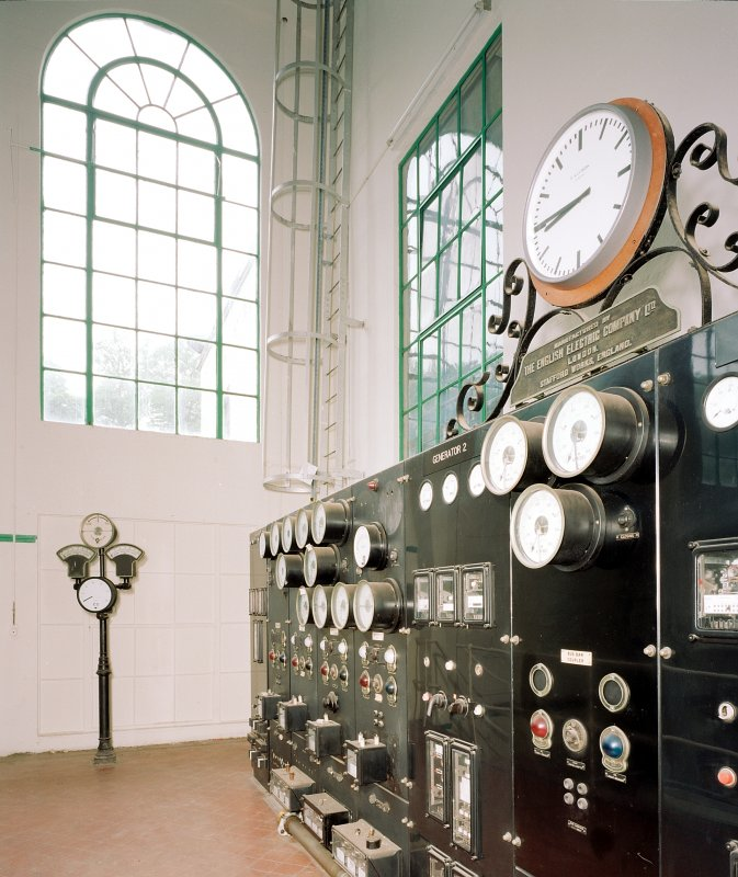 Interior view showing detail of English Electric switchgear, which dates from the opening of Stonebyres hydro-electric power station in 1927.