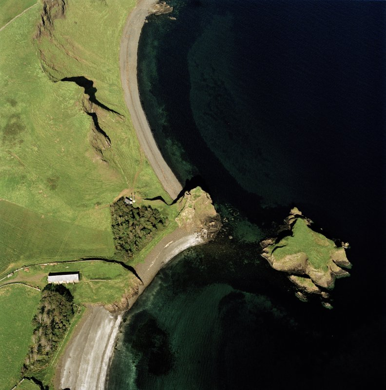 Canna, Coroghan (Coroghon) Castle, Alman and An Coroghan (Coroghon Barn): aerial view of various sites. Digital image of C 40394 CN