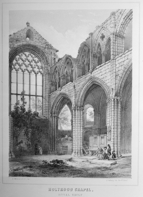 Edinburgh, Holyrood Abbey, Abbey Court House. Drawing showing ruins.