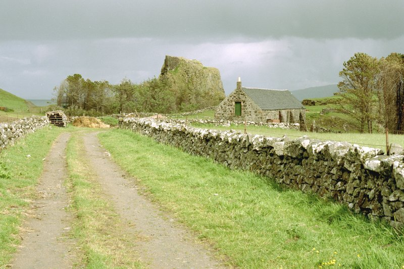 Canna, Coroghon Barn (An Coroghan) and Castle. View from W. Digital image of C 45245 CN