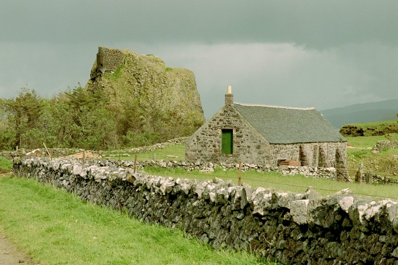 Canna, Coroghon Barn (An Coroghan) and Castle. View from W. Digital image of C 45246 CN