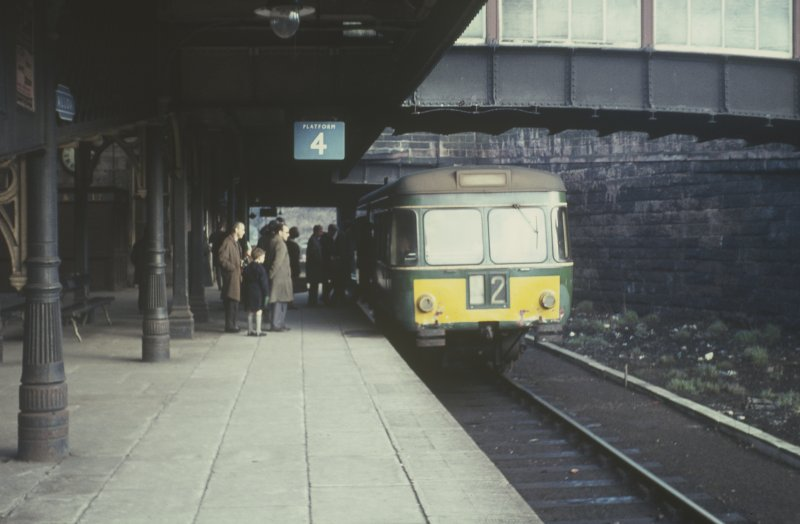 View from E showing Larbert railbus at station on last day of service