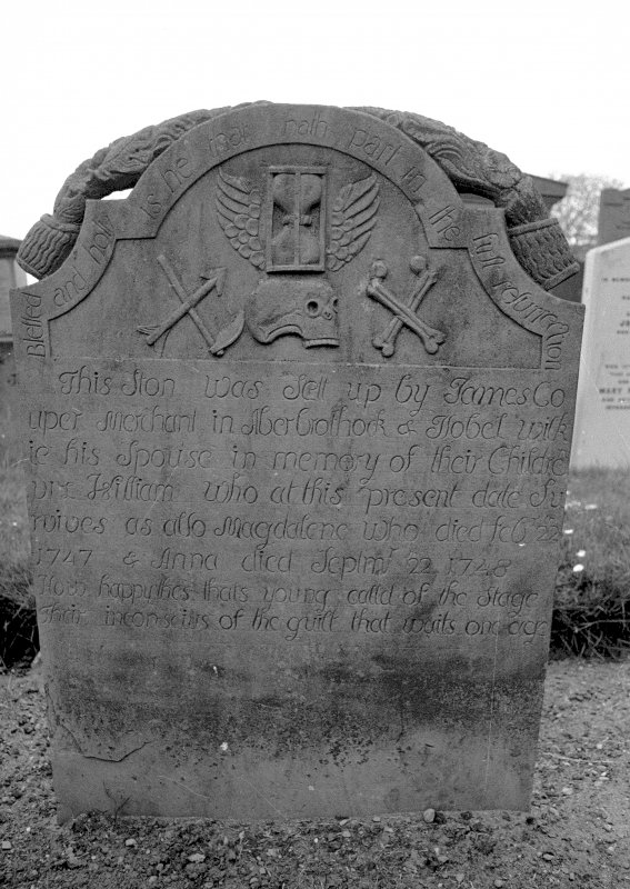 View of gravestone of Magdalene Couper, 1749. Digital image of AN 6553.