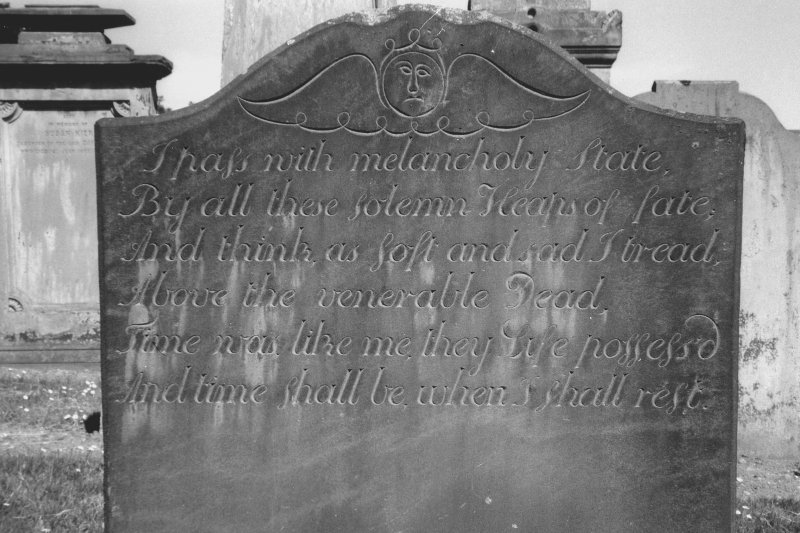 View of gravestone of Elizabeth Gibson, 1751. Digital image of C/234/30.