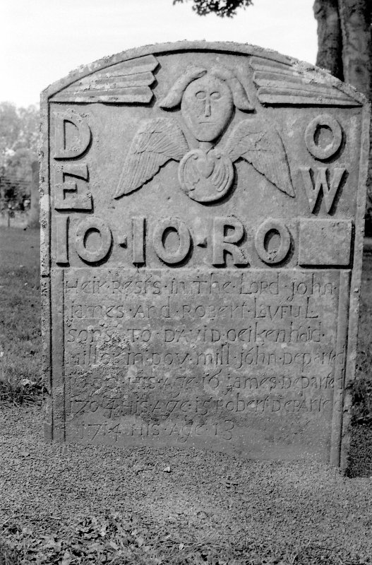 View of gravestone of the Oeikenhead children, 1714. Digital image of B 4030/19.