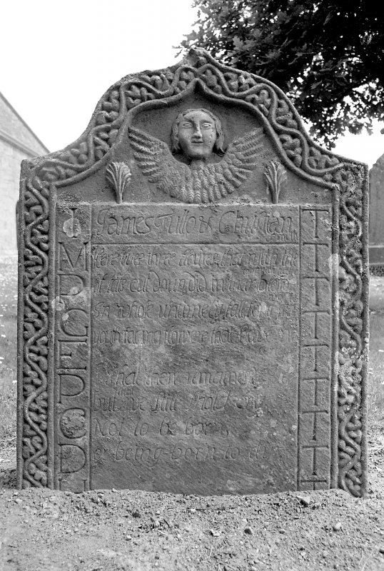 View of gravestone of the Tullo children, 1713. Digital image of B 4173/4.