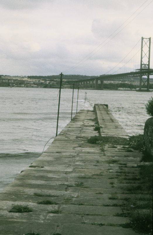 View from NNE looking down pier with part of Forth Road Bridge in background