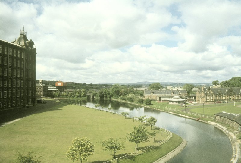 View from ENE showing remaining section of canal with parts of NW mill block on left and canteen block in right background