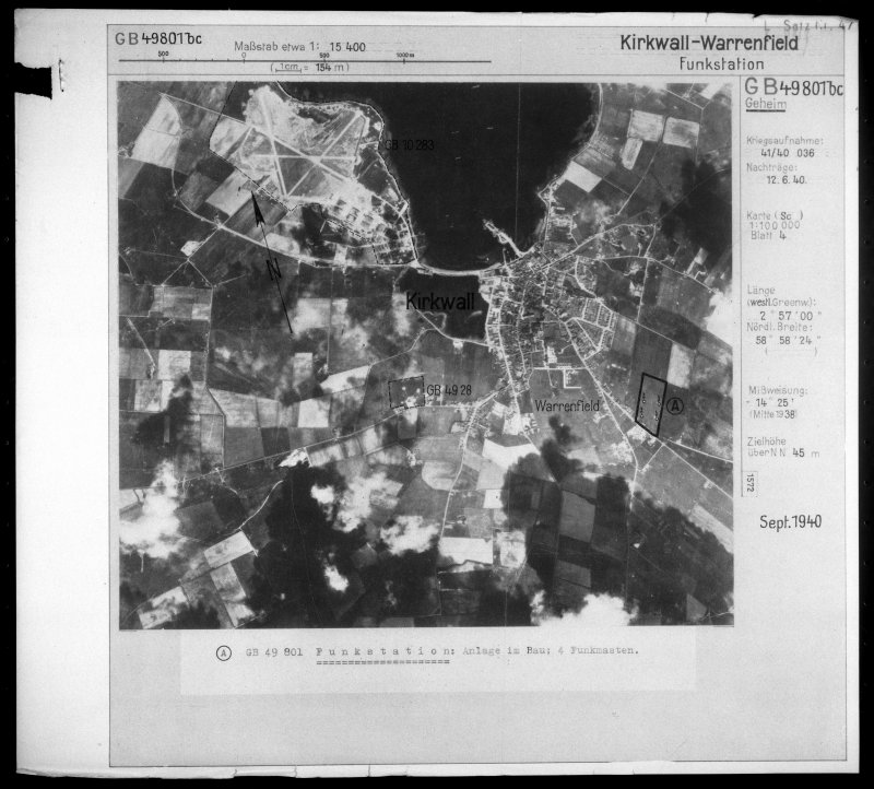 Scanned image of Luftwaffe vertical air photograph of Kirkwall, Hatston Airfield and surrounding area.