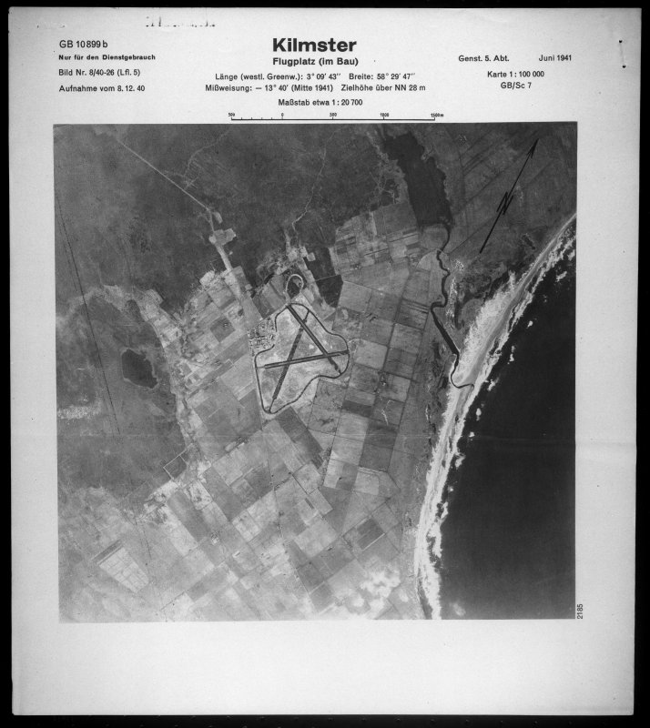 Scanned image of Luftwaffe vertical air photograph Skitten Airfield and the surrounding area.