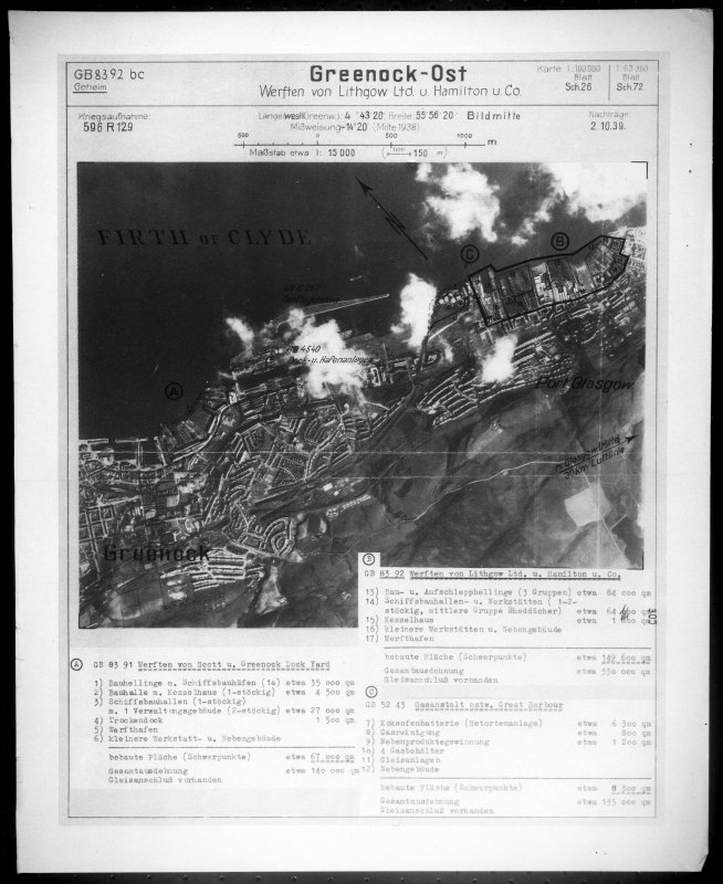 Scanned image of Luftwaffe vertical air photograph of the Greenock and Port Glasgow areas.