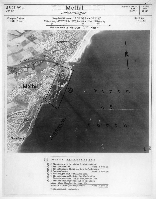 Scanned image of Luftwaffe vertical air photograph of Methil Docks and Leven.