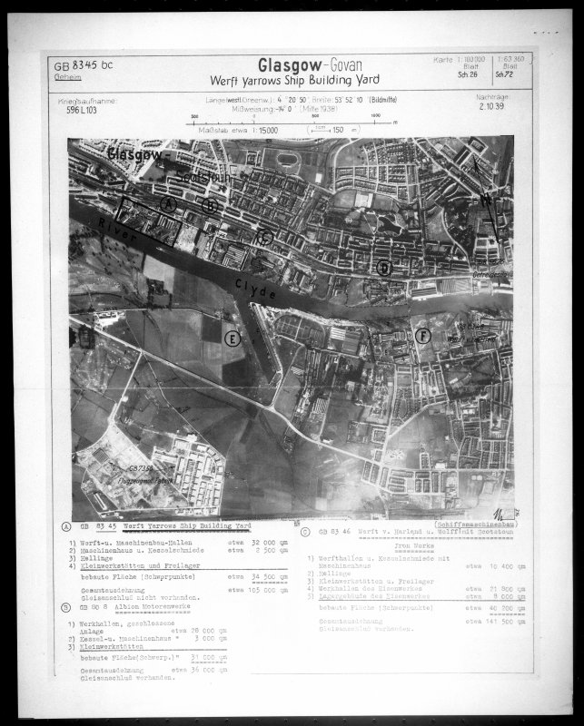 Scanned image of Luftwaffe vertical air photograph of the south side of the River Clyde, Glasgow.