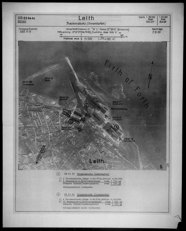 Scanned image of Luftwaffe vertical air photograph of Leith and Leith Docks, Edinburgh.