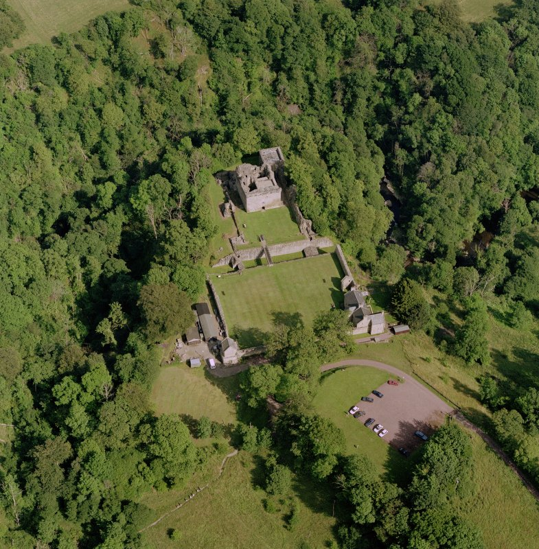 Craignethan Castle, oblique aerial view. Digital image of C 52919 CN