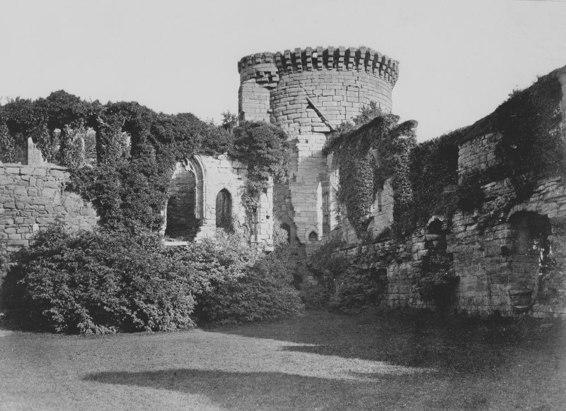 Bothwell Castle. Modern copy of historic photograph in the Annan Album showing a view from West of the Douglas Tower and Chapel. Digital image of D 27752