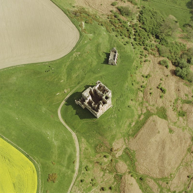 Oblique aerial view of Crichton Castle taken from the NNW.