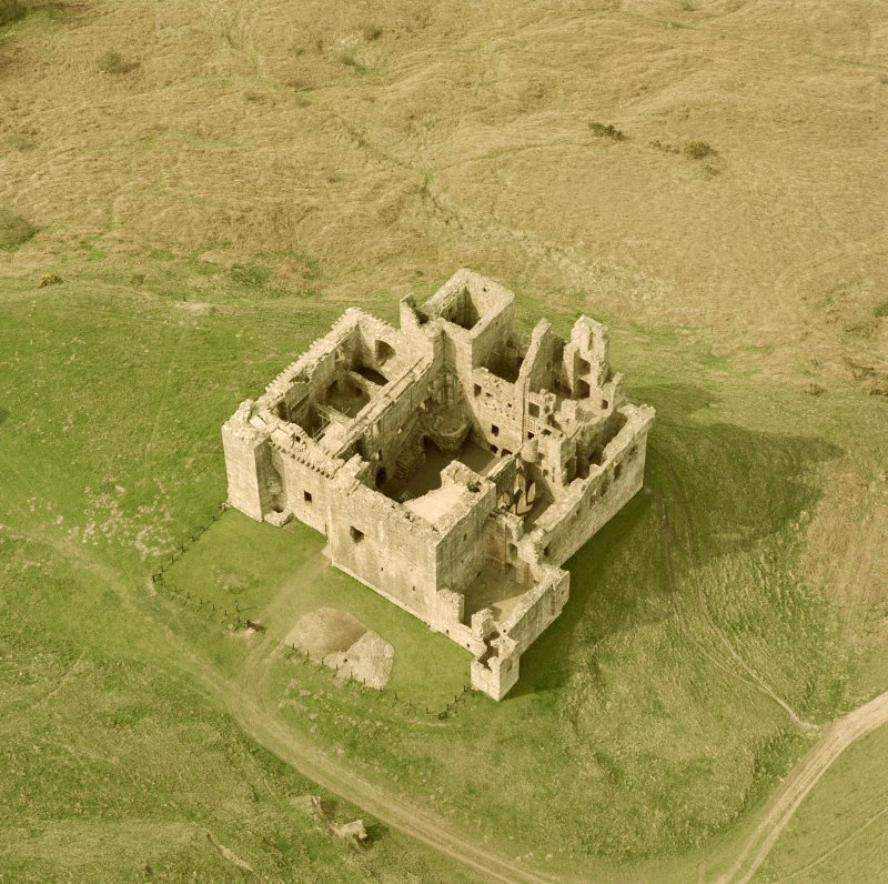Oblique aerial view of Crichton Castle.