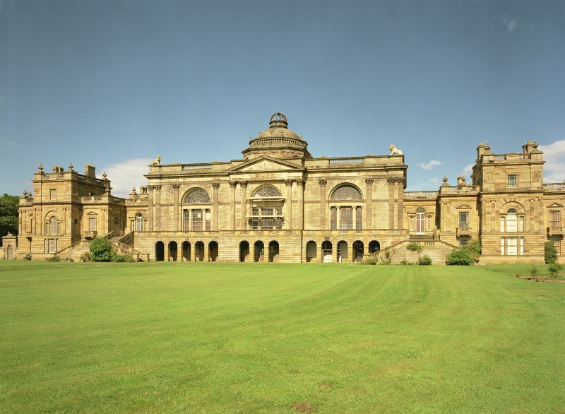 West front of Gosford House, East Lothian, taken from south west during restoration of window