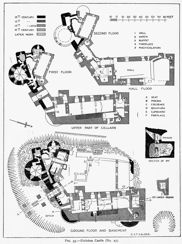 Dirleton Castle. Ground floor and basement plans. Digital image of ELD 34/16