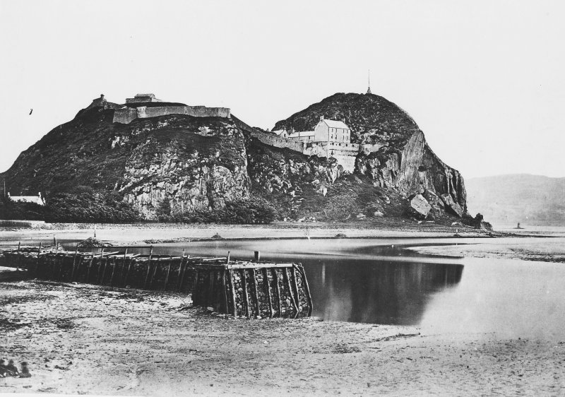 Dumbarton Rock. Modern copy of historic photograph in the Annan Album showing the North side of Dumbarton Rock and Castle. Digital image of D 27760
