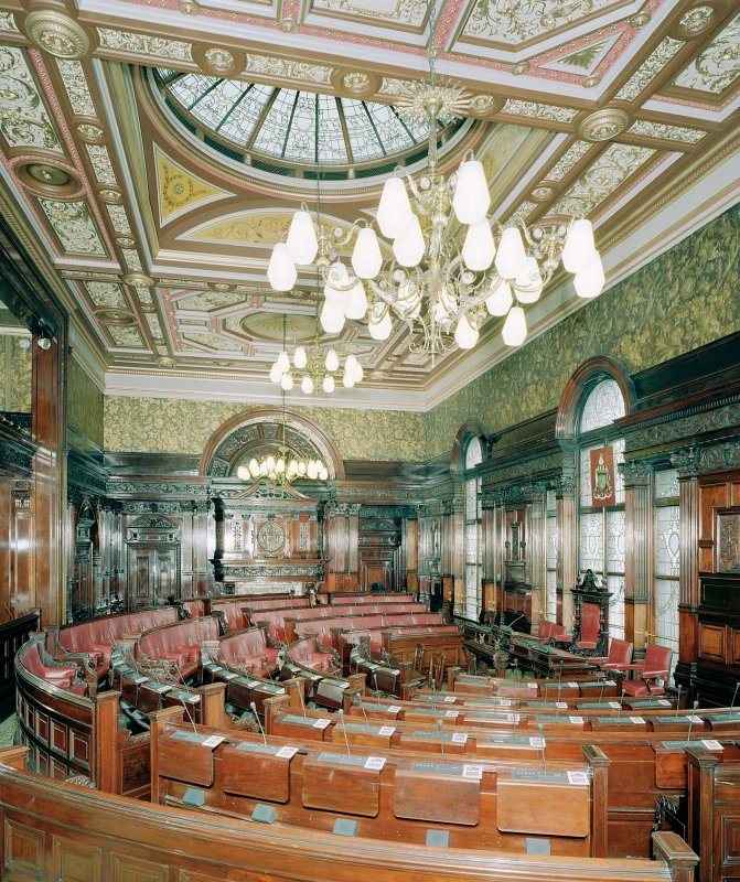 Interior of Glasgow City Chambers. Second Floor Council Chamber from North