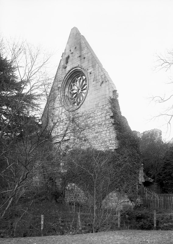 Dryburgh Abbey. View of W gable of refectory. Digital image of BW 42.
