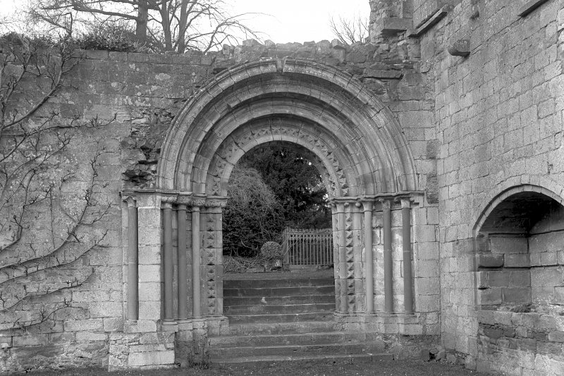 Dryburgh Abbey. View of door from nave to cloister. Digital image of BW/35.