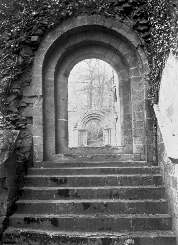 Dryburgh Abbey. View of S doorway to cloister gate. Digital image of BW 36