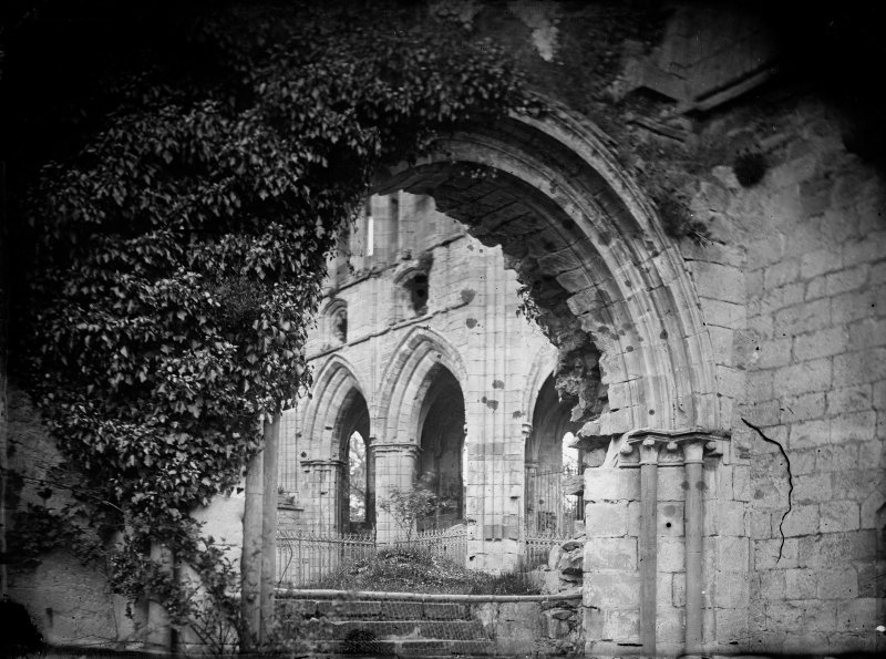 Dryburgh Abbey.  View through doorway.
