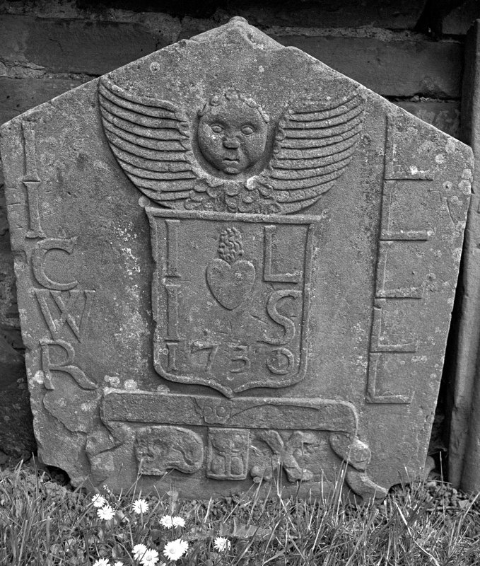 St Vigeans Churchyard. Headstone, Isobel smith, 1730. Digital image of AN 5414/2