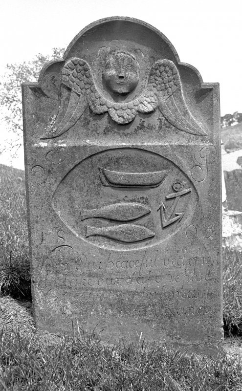 St Vigeans Churchyard. Headstone with spink-boat, 1805.