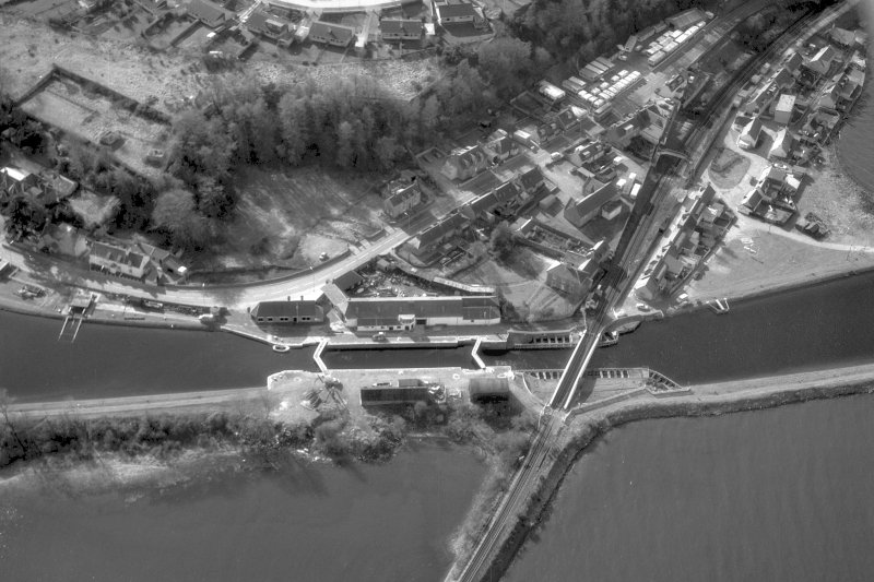 Aerial view showing Clachnaharry Locks, Workshops, Railway Swing Bridge Digital image of A 36840.