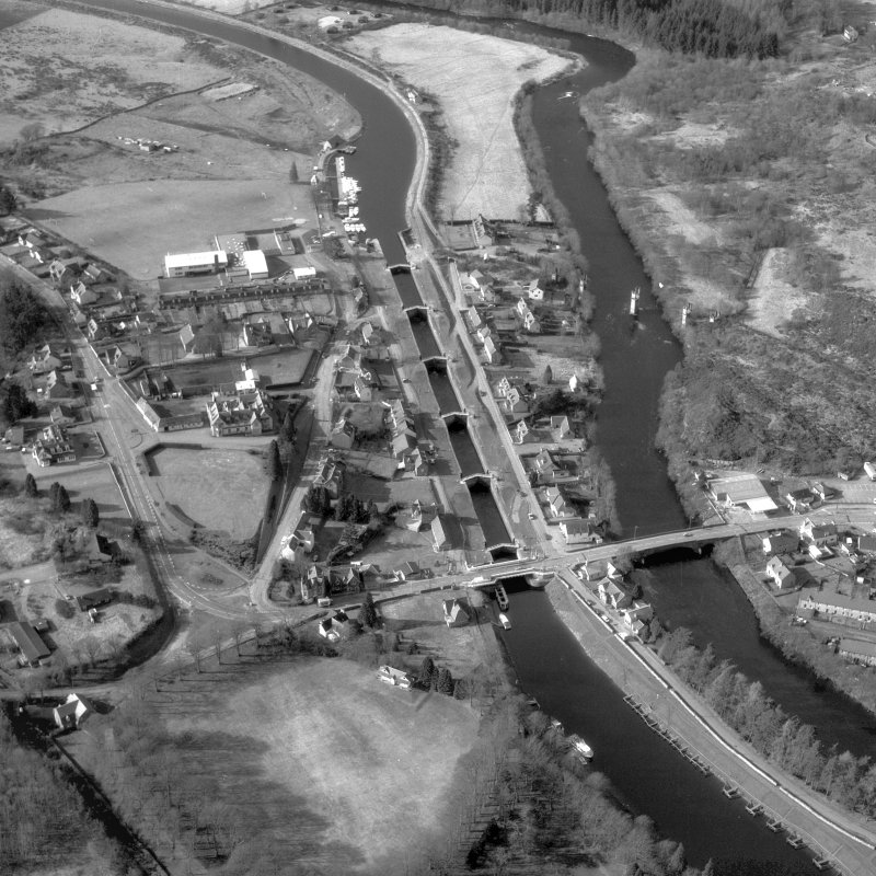 Scanned image of photograph showing oblique aerial view of Fort Augustus Locks and village