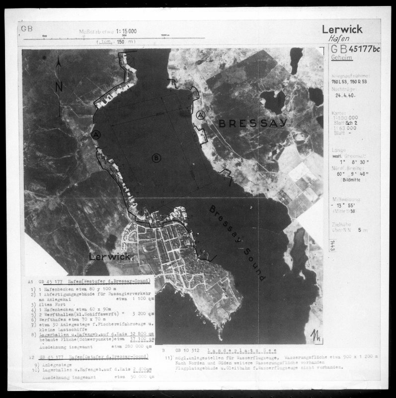 Scanned image of Luftwaffe vertical air photograph of Lerwick and part of Bressay, Shetland islands